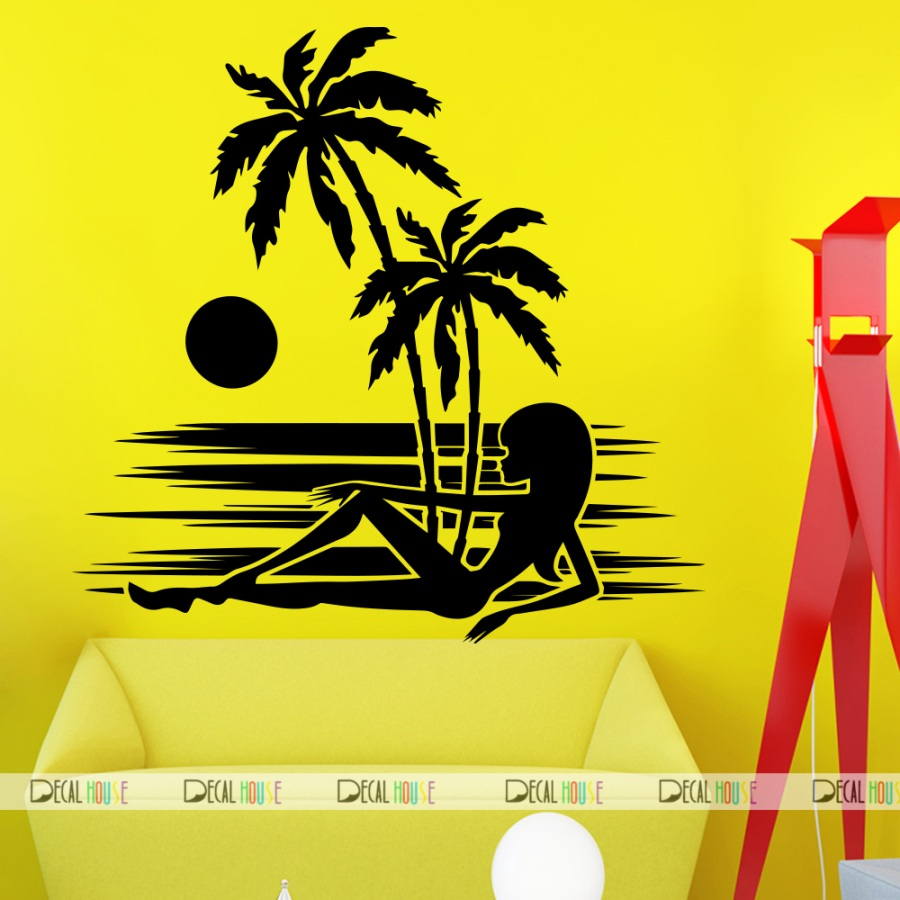 Wall Decals Summer Beach Decal Living Room Decor 265, DecalHouse