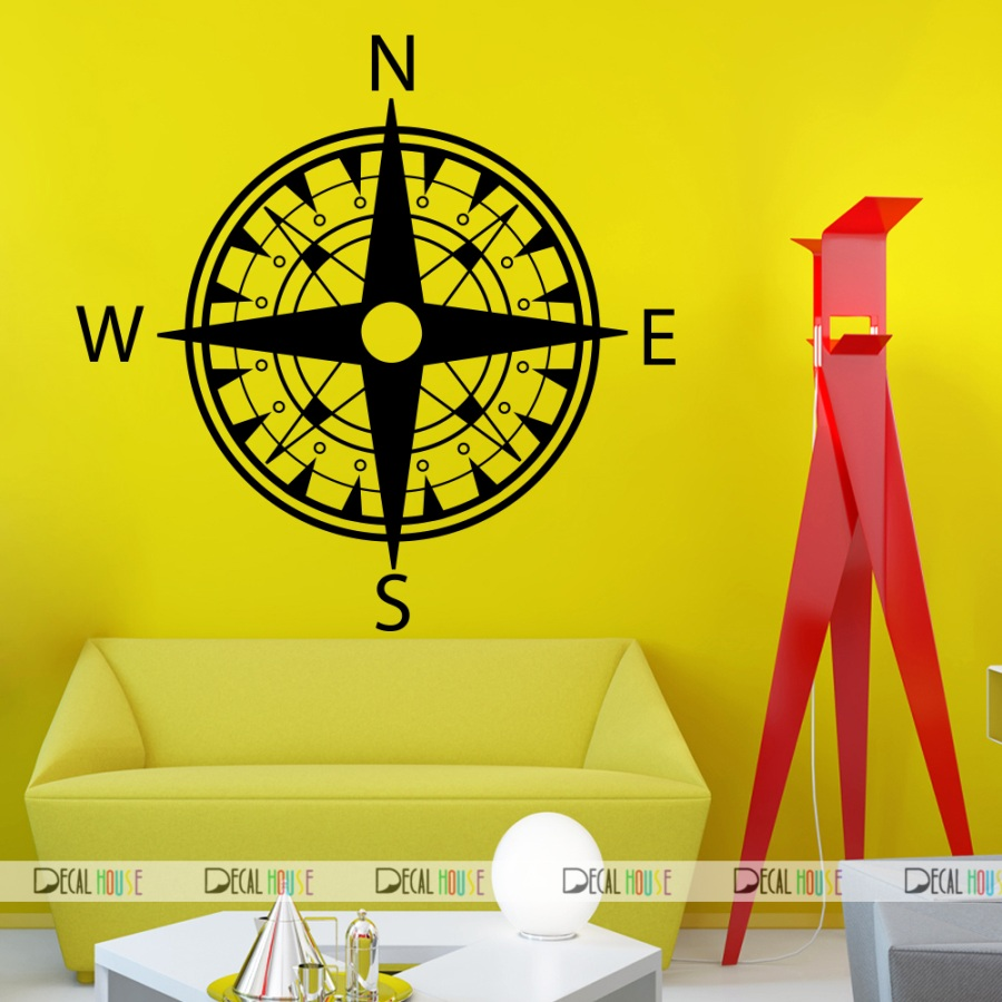 Compass Wall Decals Wind Rose Nautical Decal 312, DecalHouse