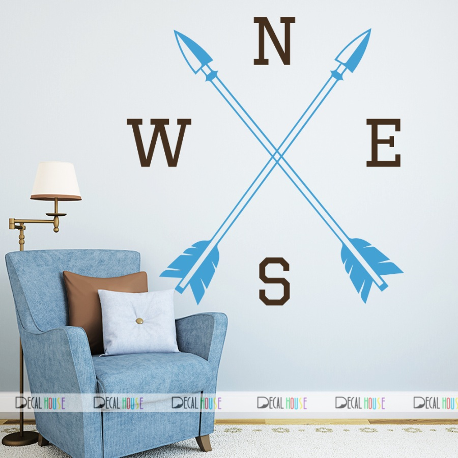 Wall Decals Compass Decal Arrow Feather Vinyl 372