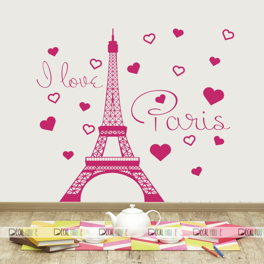I Love Paris Quotes Wall Decals Eiffel Tower Decor 516