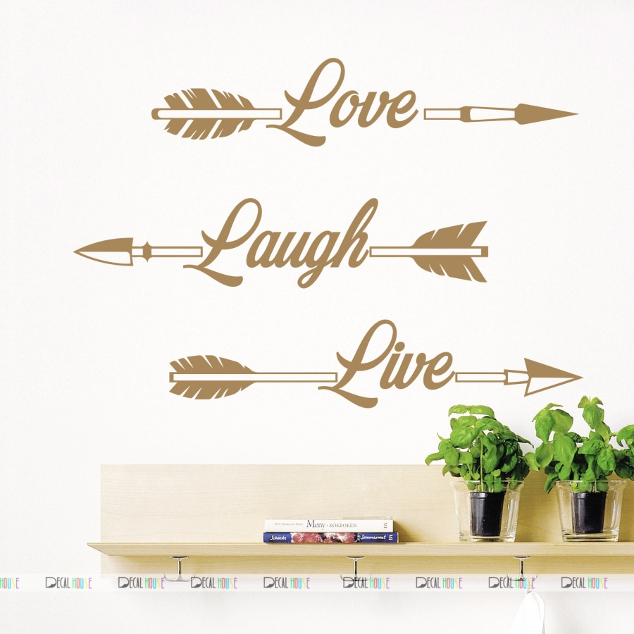 WALL DECALS LOVE LAUGH LIVE DECAL ARROWS VINYL 540
